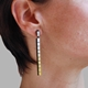 Straight & Narrow Earrings - Black & Gold-Silver - modelled