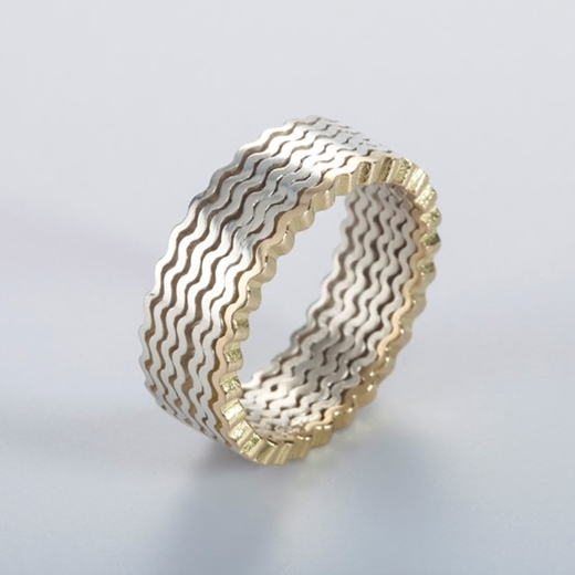 Strata Ring 7 layers, silver and 18ct gold - By Clara Breen