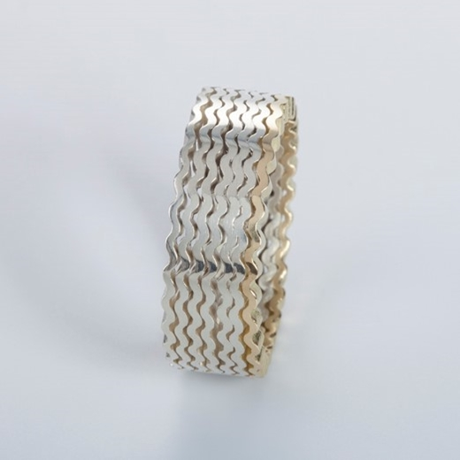 Strata Ring 7 layers, silver and 18ct gold - side view - By Clara Breen