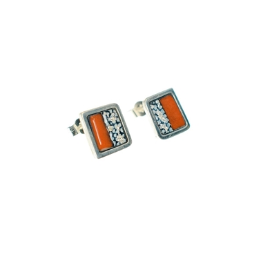 Blue and Orange Stripe Square Framed Studs