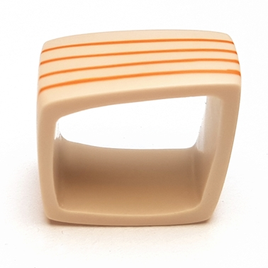Square resin ring - nude with orange stripes