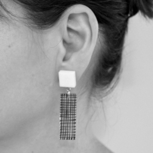 Grid Tower earrings worn