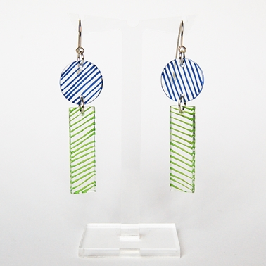 blue and lime Studio earrings