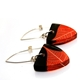 Black and Ginger Skeleton leaf earrings