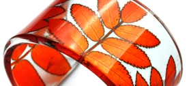 Sue Gregor - Orange Rowan Leaf Cuff, acrylic