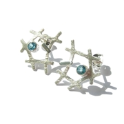 Swiss blue mini rutile formation studs