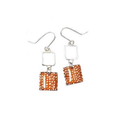 Tangerine Square Wire Drop Earrings