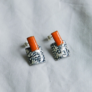 Tangerine, Blue and Silver Rectangle Square Stud Drops