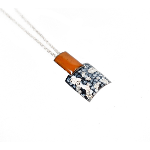Rectangle and Square Drop Pendant - Tangerine, Blue and Silver