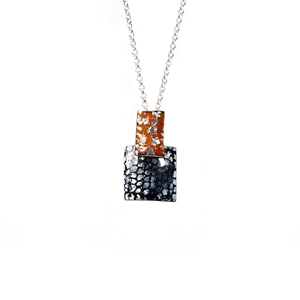 Rectangle and Square Drop Pendant - Tangerine, Silver and Blue