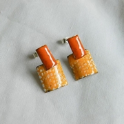 Tangerine and Blue Rectangle and Square Stud Drops