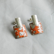 Brushed Tangerine and Silver Rectangle Stud Drops