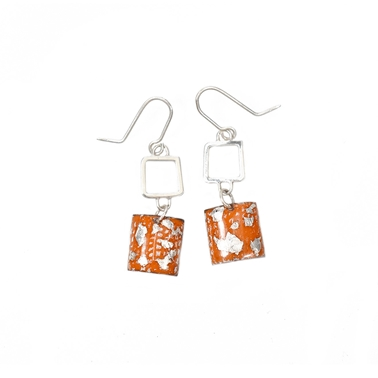 Tangerine and Silver Square Wire Drop Earrings