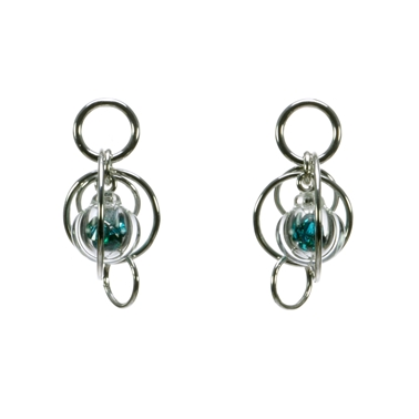 Teal-CZ-lampworked-blown-glass-smaller-single-bubble-earrings-by-Charlotte-Verity