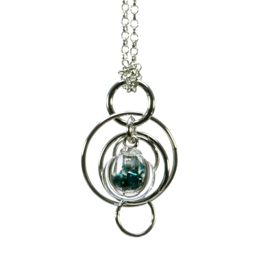 Teal-CZ-lampworked-blown-glass-smaller-single-bubble-sterling-silver-pendant-by-Charlotte-Verity