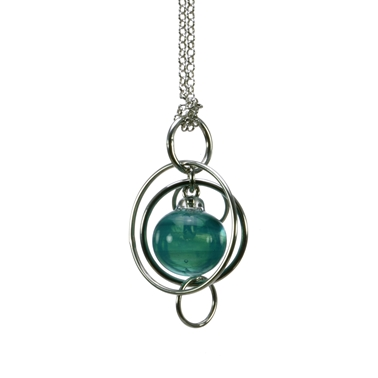teal-lampworked-blown-glass-sterling-silver-single-bubble-pendant-by-Charlotte-Verity