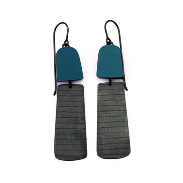 teal minimalist stripe earrings