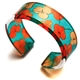 Teal Orange Tiny Hydrangea narrow cuff