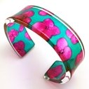 teal and magenta Hydrangea cuff sue gregor