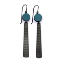 Teal circle and stripe earrings