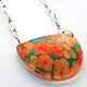 Teal Orange Tiny Hydrangea Semi Circle Pendant