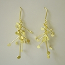 Fiona DeMarco Chaos dangling wire earrings, gold satin