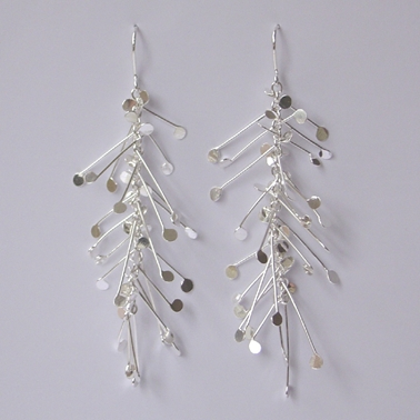 Fiona DeMarco Chaos long dangling wire earrings, polished