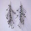 Fiona DeMarco Chaos long dangling wire earrings, oxidised