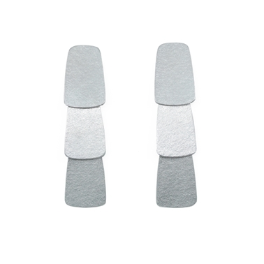 three tier silver earrings