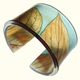 Toffee & Soft Blue Leaf Cuff 45mm