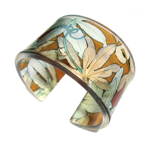Toffee & Soft Blue Passion Flower Cuff 45mm