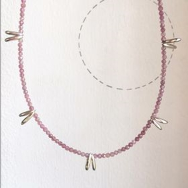 Pink tourmaline tag necklace