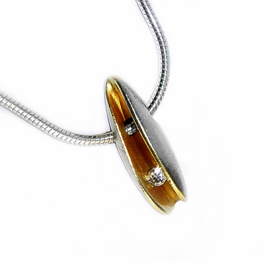 Small front diamond pendant