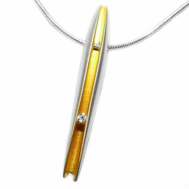 Elongated Shell Diamond Pendant