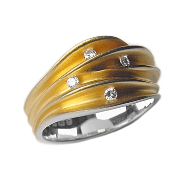 Multi split 4 Diamond Silver Shell Ring