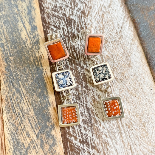 Multi Square Framed Drop Earrings