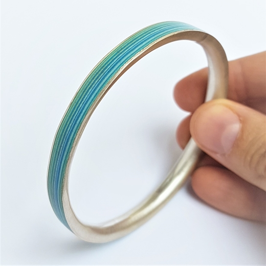Turquoise Paper and Fine Silver Bangle - By Clara Breen