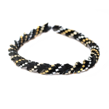 Twisted Up Necklace - Black & Gold-Silver