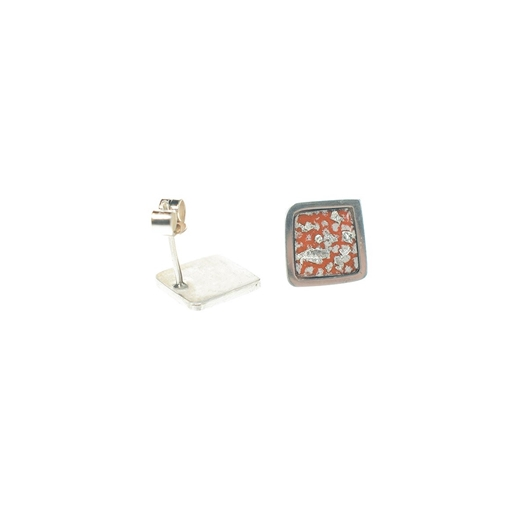 Tangerine and Silver Square Framed Studs