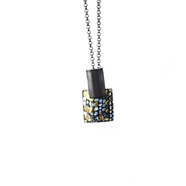 Rectangle and Square Drop Pendant - Oxidised Blue and Gold