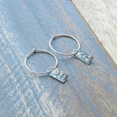 Grey and Silver Mini Rectangle Curved Hoops