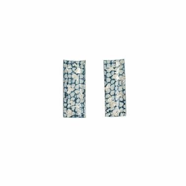 Blue and Silver Rectangle Curved Studs