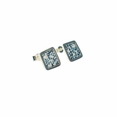 Blue and Silver Square Framed Studs