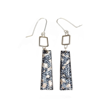 Blue and Silver Square Wire Rectangle Drop Earrings