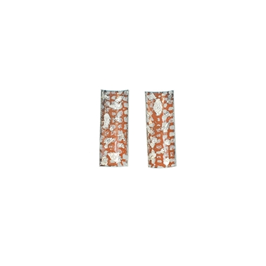 Tangerine and Silver Rectangle Curved Studs