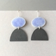 Violet blue oval hook earring with oxidised half oval