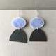Violet blue enamel oval hook earring + oxidised half oval