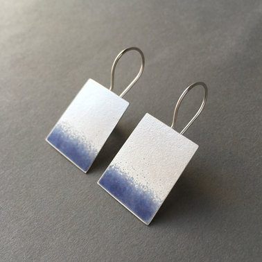 Violet blue part enamelled trapezium shape hook earring