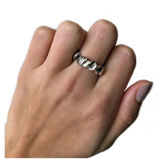 Silver Twist Ring on finger