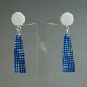 blue weave long drop earrings